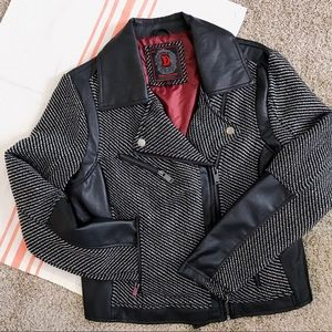 Dollhouse Outerwear Faux Leather Tweed Moto Jacket